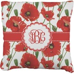 Poppies Burlap Throw Pillow (Personalized)