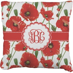 Poppies Burlap Pillow Case (Personalized)