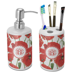 Poppies Ceramic Bathroom Accessories Set (Personalized)