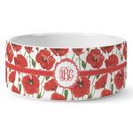 Poppies Ceramic Dog Bowl (Personalized)
