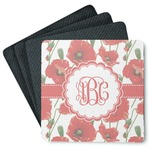 Poppies 4 Square Coasters - Rubber Backed (Personalized)