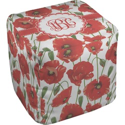 Poppies Cube Pouf Ottoman (Personalized)