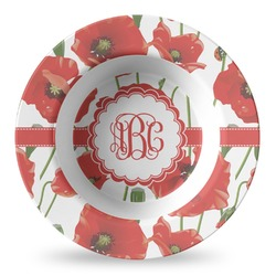Poppies Plastic Bowl - Microwave Safe - Composite Polymer (Personalized)
