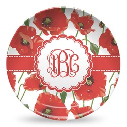 Poppies Microwave Safe Plastic Plate - Composite Polymer (Personalized)