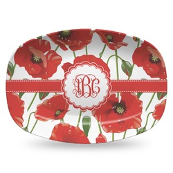 Poppies Plastic Platter - Microwave & Oven Safe Composite Polymer (Personalized)