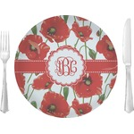 """Poppies Glass Lunch / Dinner Plates 10"""" - Single or Set (Personalized)"""