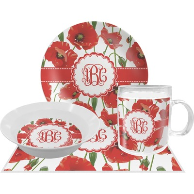 Poppies Dinner Set - 4 Pc (Personalized) - YouCustomizeIt