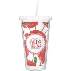 Poppies Double Wall Tumbler with Straw (Personalized)