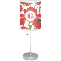 """Poppies 7"""" Drum Lamp with Shade Linen (Personalized)"""
