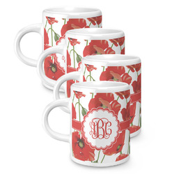 Poppies Espresso Mugs - Set of 4 (Personalized)