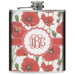 Poppies Genuine Leather Flask (Personalized)