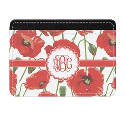 Poppies Genuine Leather Front Pocket Wallet (Personalized)