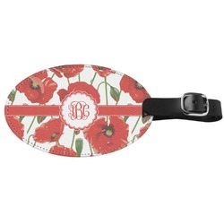 Poppies Genuine Leather Oval Luggage Tag (Personalized)