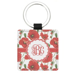 Poppies Genuine Leather Rectangular Keychain (Personalized)