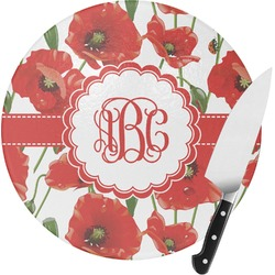 Poppies Round Glass Cutting Board (Personalized)