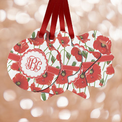 Poppies Metal Ornaments - Double Sided w/ Monogram