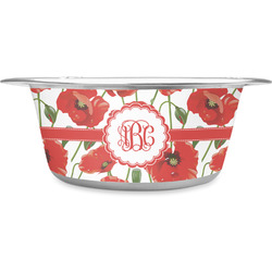 Poppies Stainless Steel Dog Bowl (Personalized)