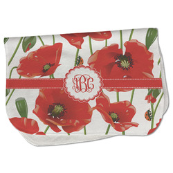 Poppies Burp Cloth - Fleece w/ Monogram