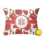 Poppies Outdoor Throw Pillow (Rectangular) (Personalized)