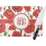 Poppies Rectangular Glass Cutting Board (Personalized)