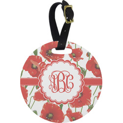 Poppies Round Luggage Tag (Personalized)