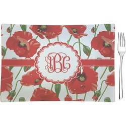 Poppies Rectangular Glass Appetizer / Dessert Plate - Single or Set (Personalized)