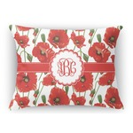 Poppies Rectangular Throw Pillow (Personalized)