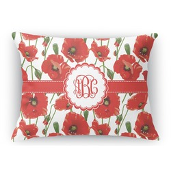 Poppies Rectangular Throw Pillow Case (Personalized)