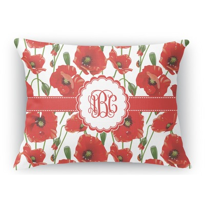 Poppies Rectangular Throw Pillow Case (Personalized)