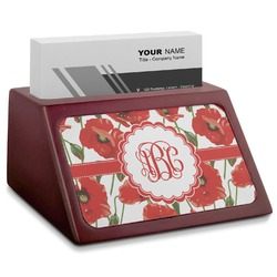 Poppies Red Mahogany Business Card Holder (Personalized)