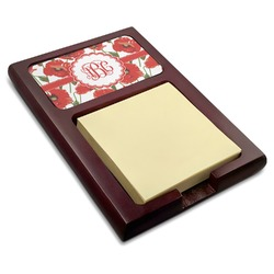 Poppies Red Mahogany Sticky Note Holder (Personalized)