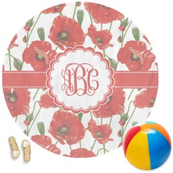 Poppies Round Beach Towel (Personalized)