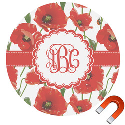 Poppies Round Car Magnet (Personalized)