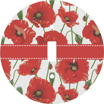 Poppies Round Light Switch Cover (Personalized)
