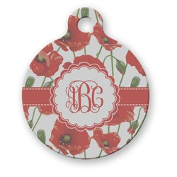 Poppies Round Pet Tag (Personalized)