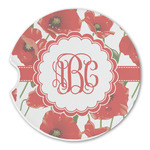 Poppies Sandstone Car Coasters (Personalized)