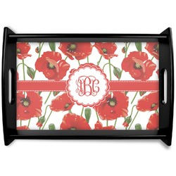Poppies Black Wooden Tray (Personalized)