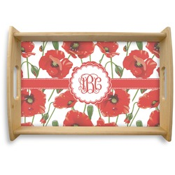 Poppies Natural Wooden Tray (Personalized)