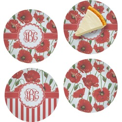 """Poppies Set of 4 Glass Appetizer / Dessert Plate 8"""" (Personalized)"""