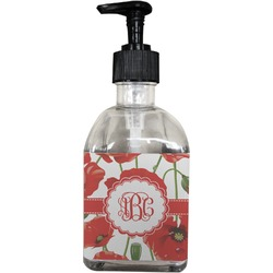 Poppies Soap/Lotion Dispenser (Glass) (Personalized)