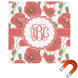 "Poppies Square Car Magnet - 6"" (Personalized)"