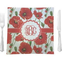 Poppies Square Dinner Plate (Personalized)