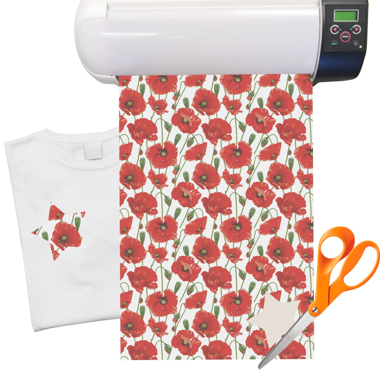 poppies heat transfer vinyl sheet 12 x18 youcustomizeit. Black Bedroom Furniture Sets. Home Design Ideas