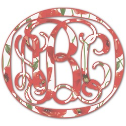 Poppies Monogram Decal - Custom Sized (Personalized)