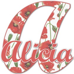 Poppies Name & Initial Decal - Custom Sized (Personalized)