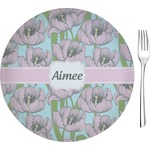 "Wild Tulips Glass Appetizer / Dessert Plates 8"" - Single or Set (Personalized)"