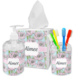Wild Tulips Acrylic Bathroom Accessories Set w/ Name or Text