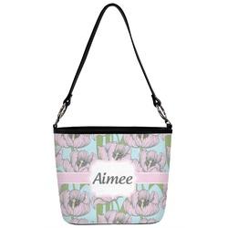 Wild Tulips Bucket Bag w/ Genuine Leather Trim (Personalized)