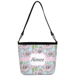 Wild Tulips Bucket Bag w/ Genuine Leather Trim (Personalized)