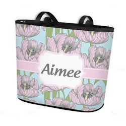 Wild Tulips Bucket Tote w/ Genuine Leather Trim (Personalized)